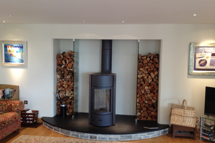 Stuv 30 in a bespoke fireplace