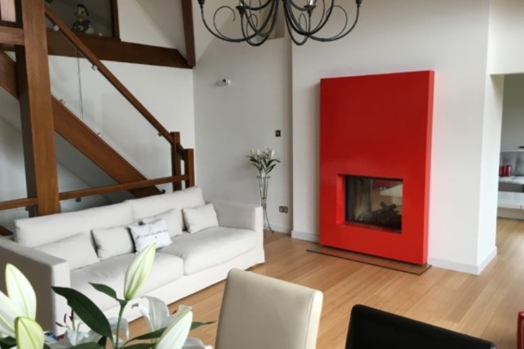 Stuv double sided red fireplace