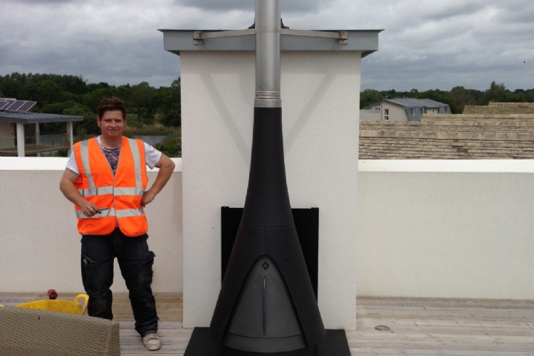 Woodburner on a roof