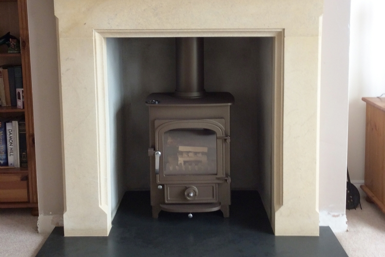 Clearview Pioneer in Brown in a Wessex Stone mantle